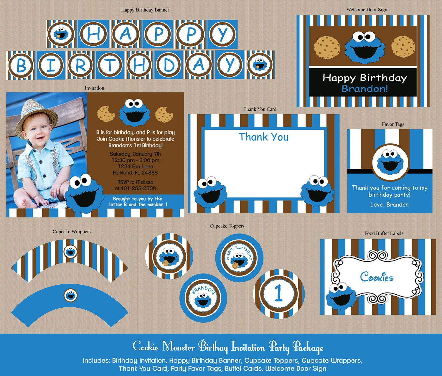 Cookie Monster Birthday Invitation Party Package by Honeyprint, $30.00