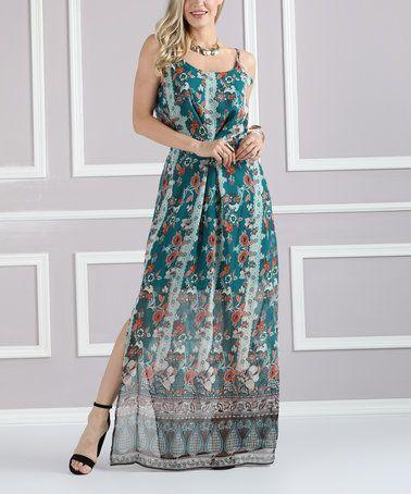 6b97699a1cf Green Floral Cinched-Waist Maxi Dress - Plus Too  zulily  zulilyfinds