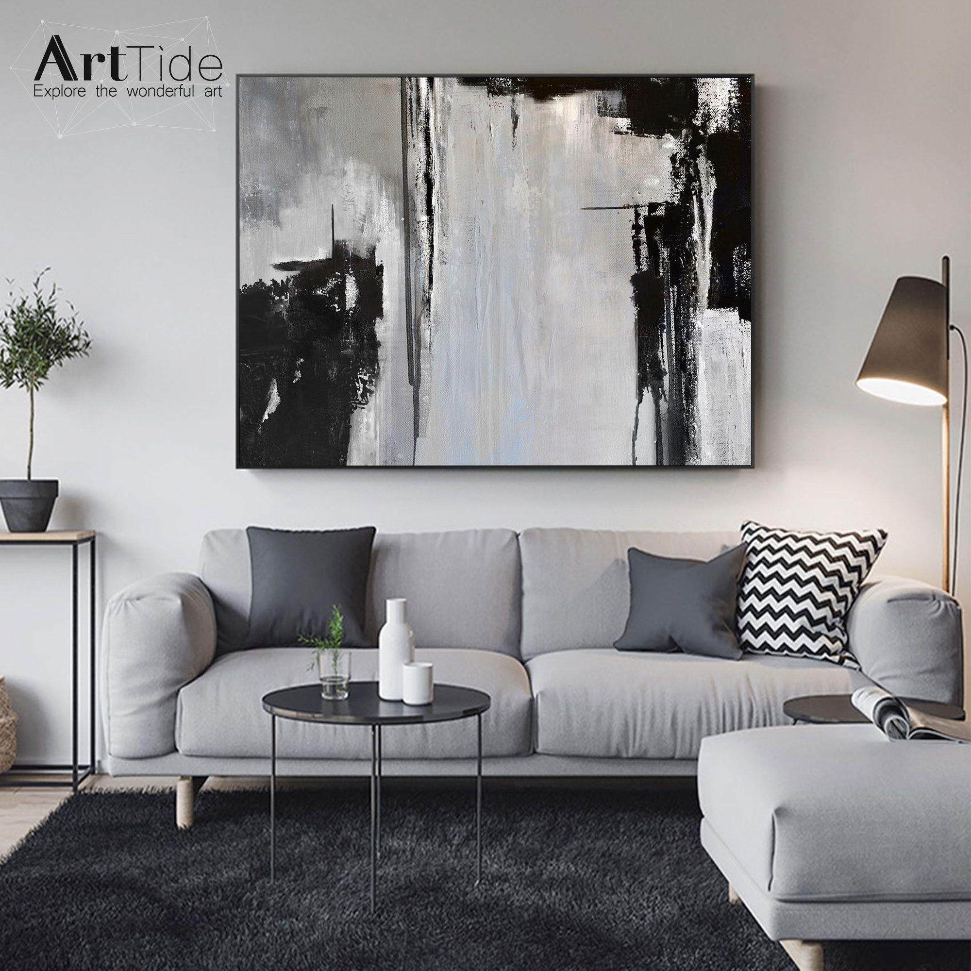 Oversize Minimal Paintingminimalism Artworkblack White Etsy In 2021 Living Room Art Living Room Canvas Black And White Wall Art Wall paintings for living rooms