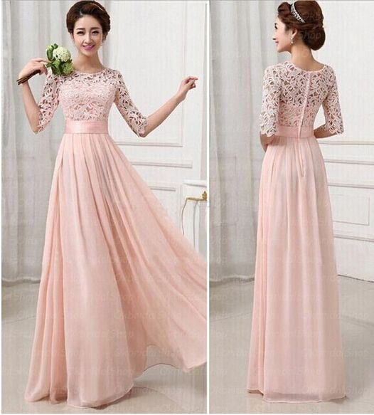 Half long sleeves bridesmaid dresses pink lace chiffon for Pink lace wedding dresses