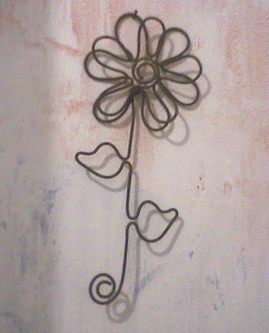Wire art hanging flower. could be a pendant as well.