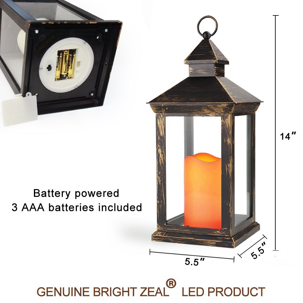 Bright Zeal Bzy 14 Tall Vintage Decorative Lantern With Led Pillar Candle Bronze Batteries Included Outd Vintage Candles Lanterns Decor Lantern Candle Holders