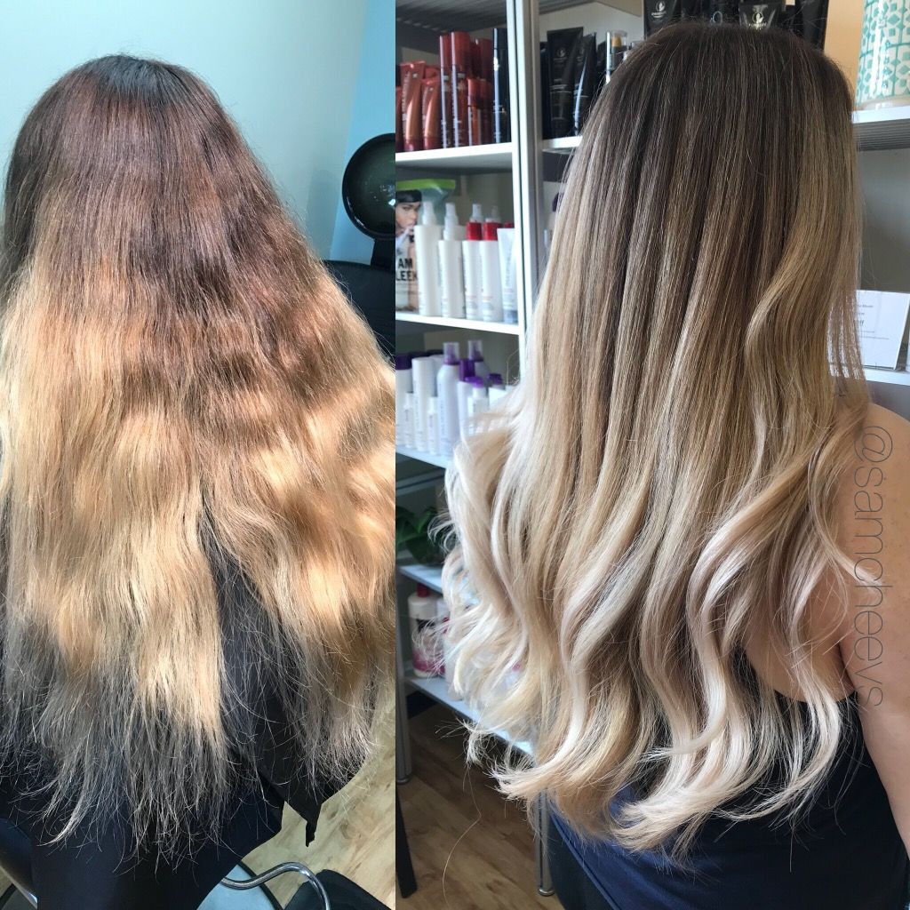 Balayage ombré touch up before and after for thick brown