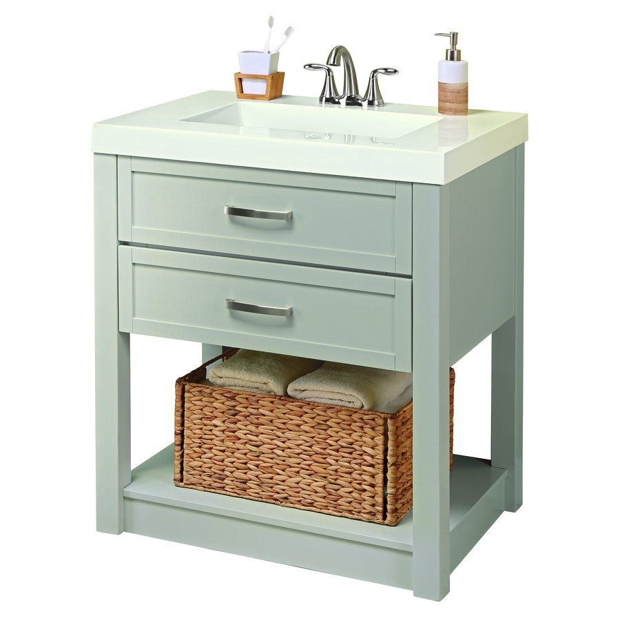 Shop Style Selections Annabeth 30 In Cool Gray Bathroom Vanity With White  Cultured Marble Top