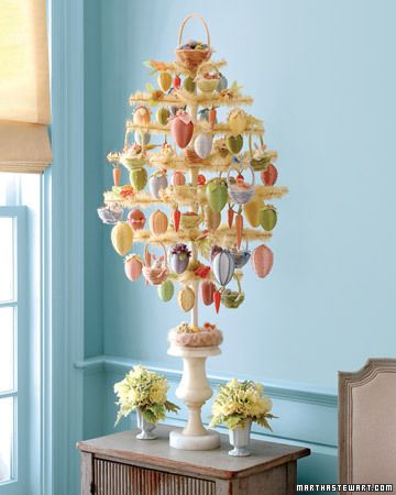 Easter feather tree    Kit's available from http://www.hometraditions.com/martha-stewart-easter-feather-tree.shtml -way expensive!  Get supplies from Shirley @ The Craft Shoppe. http://www.thecraftshoppe.com/feathertree.html    7 tiers of 12 branches. 16-inches wide.  Feathers can be died with RIT dye.
