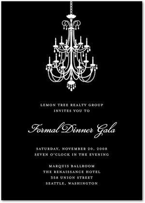 Classic Chandelier  Corporate Event Invitations In Black Or