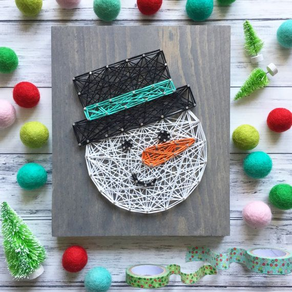 made to order string art mid size snowman sign crafty christmas pinterest ficelle tableau. Black Bedroom Furniture Sets. Home Design Ideas