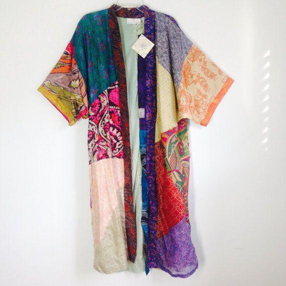 Vintage Sacred Threads Patchwork Silk Kimono SIze Small   Hippy Boho