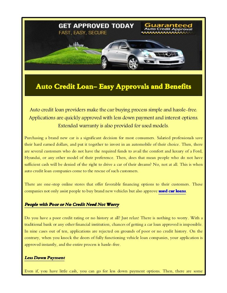 Auto credit loan providers make the car buying process simple and ...
