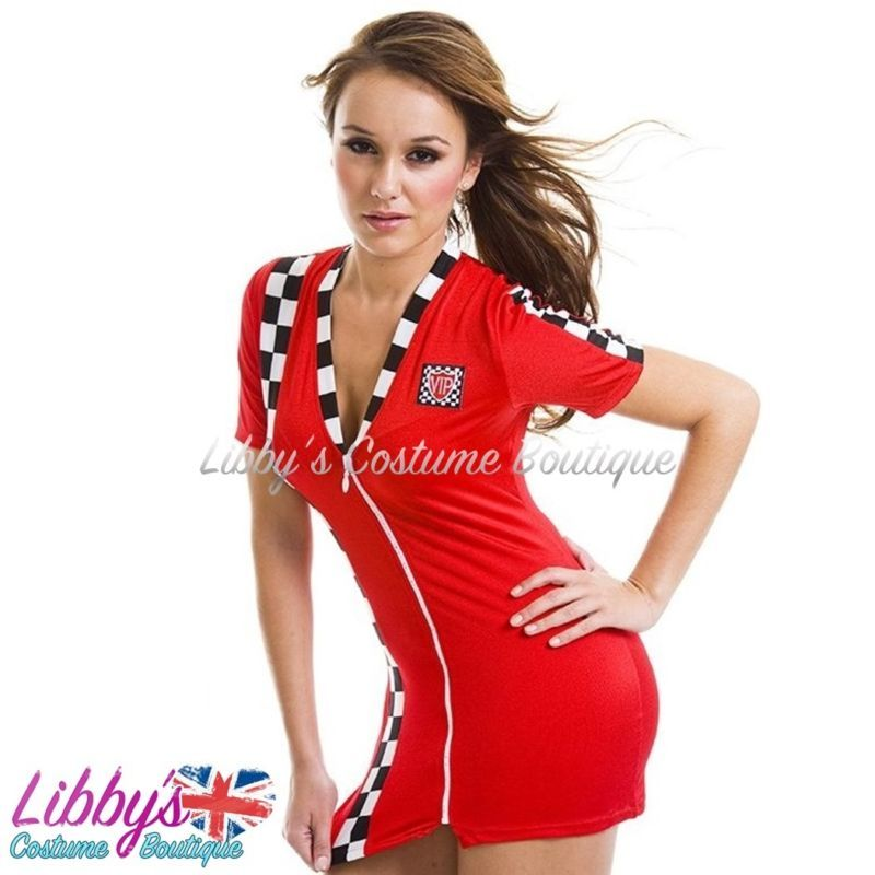 Ladies Race Racer Grid Girl F1 Pit Crew Sexy Fancy Dress Costume Outfit UK 8 -12 4776e789d