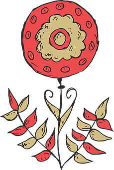 Free Image On Pixabay Flower Plant Hand Drawn Red How To Draw Hands Free Clip Art Free Images