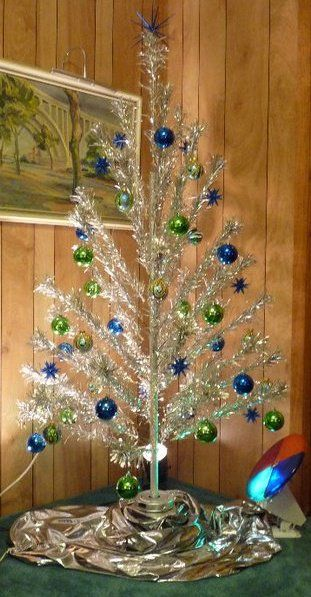 we had this when we were growing up only with red and blue balls with a rotating color wheel - Rotating Color Wheel For Christmas Tree