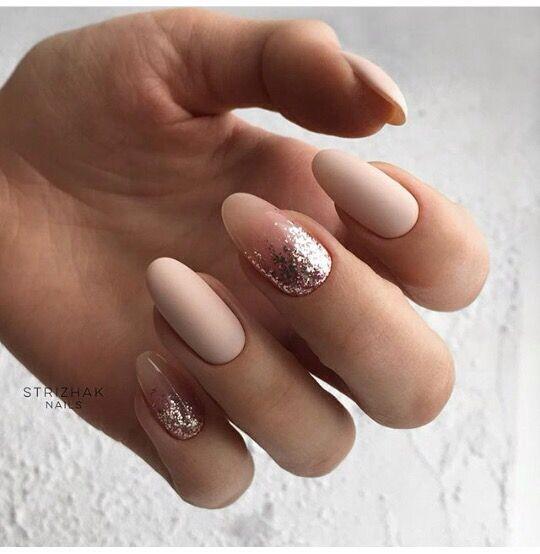 Nude pink glitter nail art