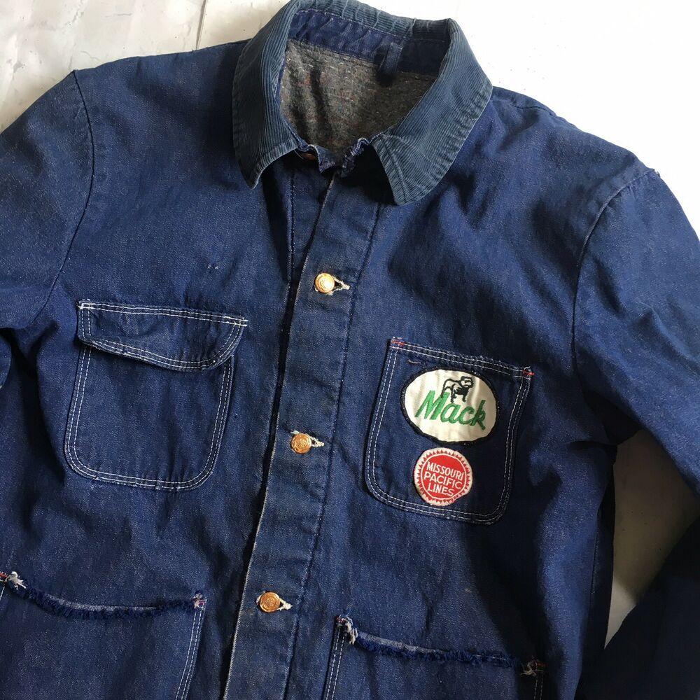 Vintage Wrangler Blanket Lined Denim Chore Jacket Barn Coat Mack Rail Patch 42 Wrangler Casual Distressed Denim Jacket Mens Lined Denim Jacket Denim Country [ 1000 x 1000 Pixel ]
