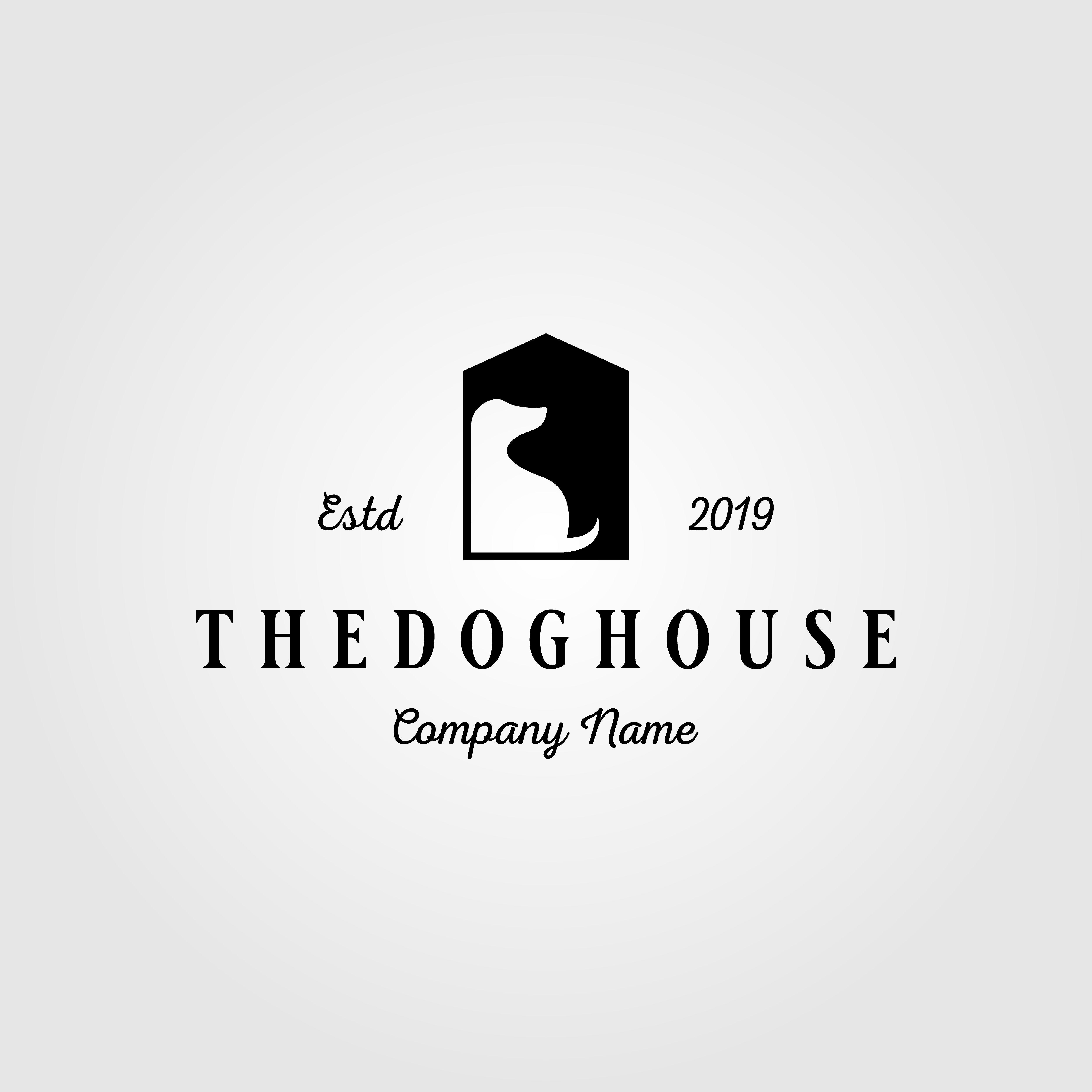 Dog House Pet Home Logo Vintage Illustration Design Animal