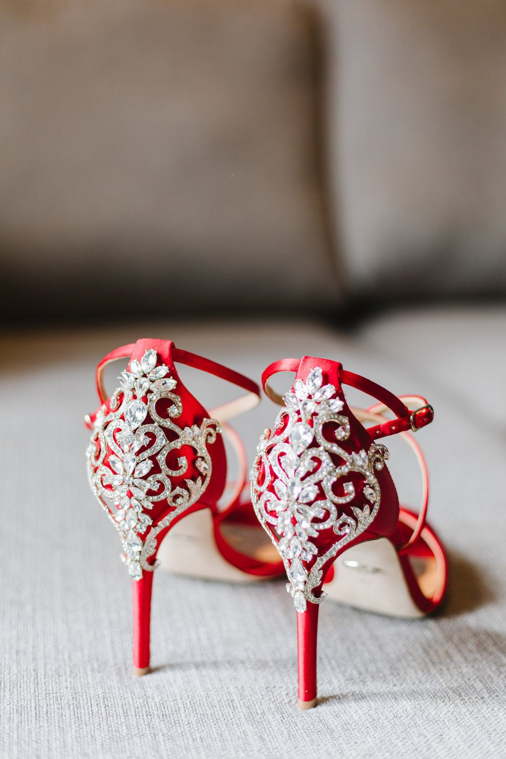 373cc4515af The most amazing red strappy shoes with rhinestones for your wedding day! I  love when brides break away from the norm