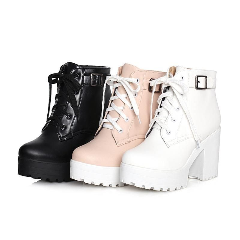 Photo of Lace-up platform chunky heels short motorcycle boots plus size women's shoes 8489 …
