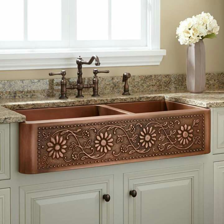 Beautiful copper Farm-style sink. I like that it\'s divided also. The ...