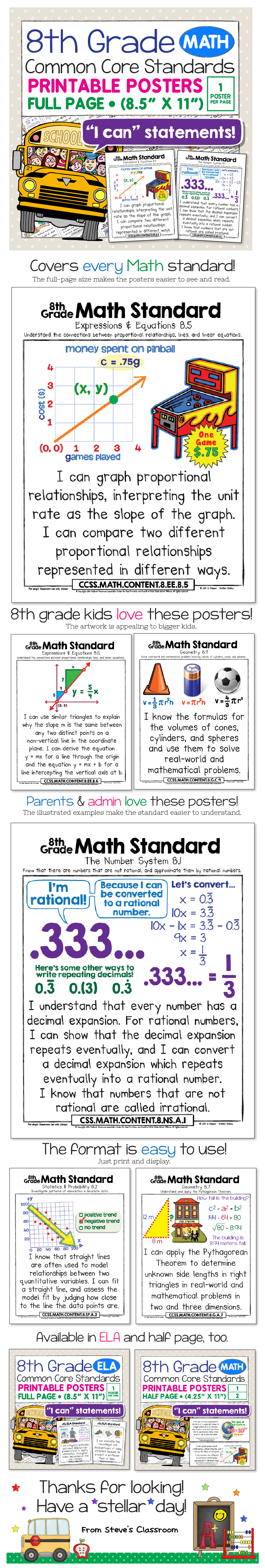 These posters for the 8th grade math Common Core Standards bring the  standard to life and make it easier to understand with age-appropriate  illustrations ...