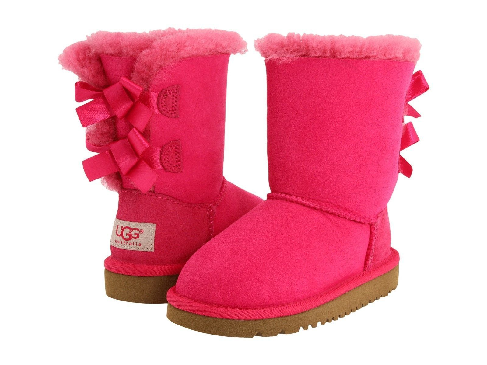 47208c1e2a2 Baby Shoes 147285: New Ugg Toddler Bailey Bow Boots Cerise Dark Pink ...