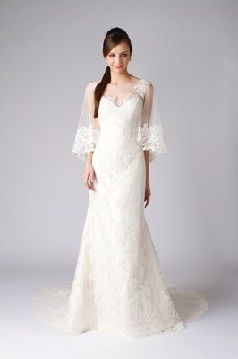 Marlon Wedding Dress With Lace Trim Sheer Loose Sleeves Ciara Bridal Gown Inspiration