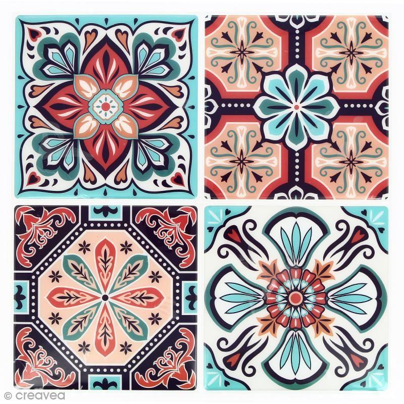 Stickers Mosaïque – Carré – Rouge et turquoise – 12 x 12 cm – 4 pcs – Tesselle mosaïque