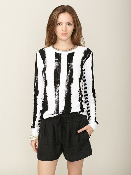 The shorts are cute too! Organic Cotton Mixed Stripe Sweater by Edun on Gilt