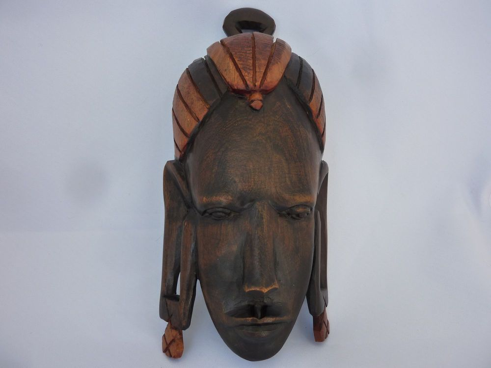 """African Tribal Mask Maasai Hand Carved Wood Wall Face Two Tone Long Lobes 8.5""""L"""