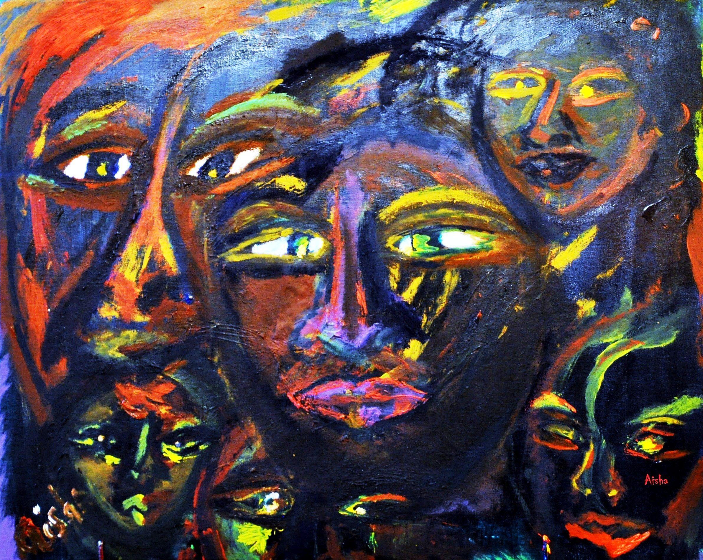 """ART SALE Open House 6/7/2014  12 PM TIL 7PM  """"FACES"""" Original Art Oil on canvas  (c)2010  by Aisha Jackson 24 by 23  ON SALE NOW $askingaisha@gmail.com  Open House 6/7/2014"""