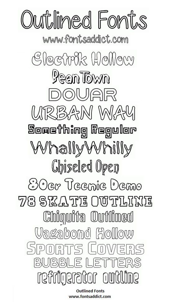 A small collection of our Outlined Fonts here at fontsaddict com