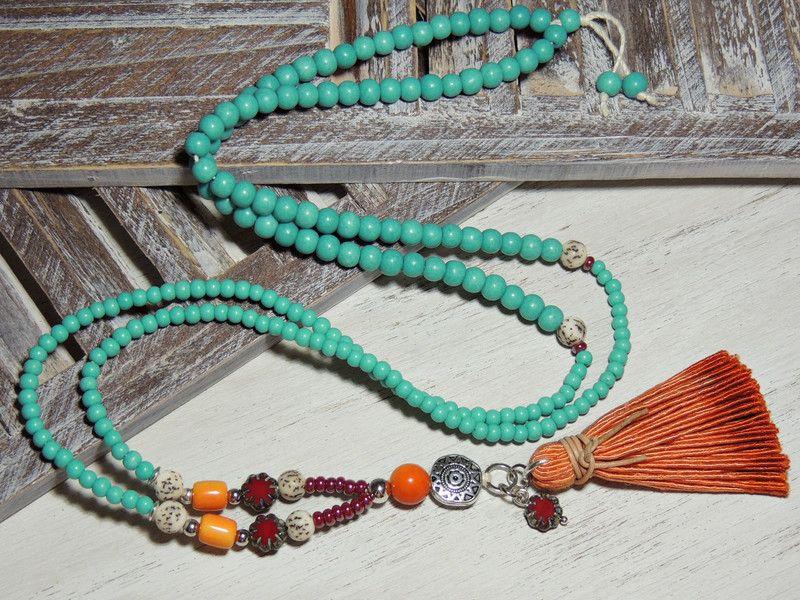 Charm- & Bettelketten - Lange Kette - GLASPERLEN - SAMEN - QUASTE - - ein Designerstück von Kunterbuntes-Perlenspiel bei DaWanda