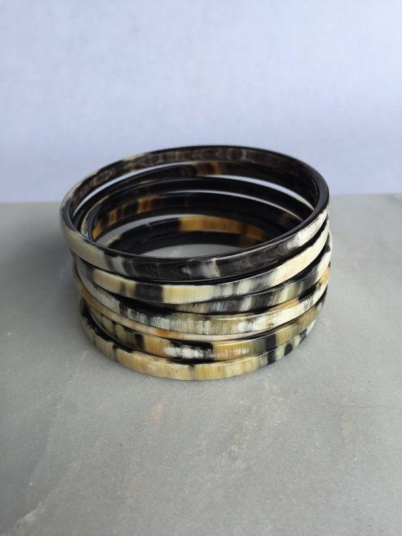 7 Pk Huu Buffalo Horn Bangle Bracelets By Hathorway