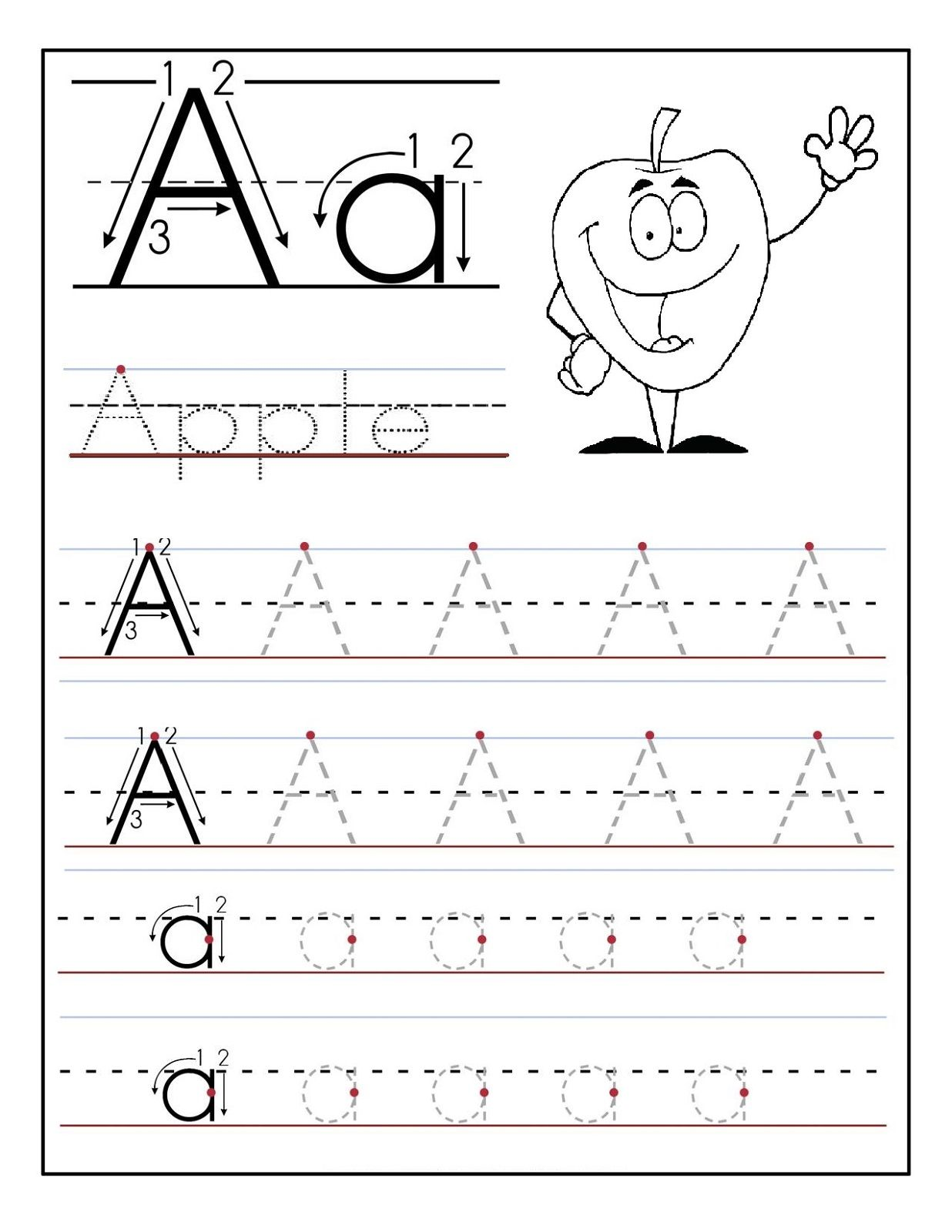 trace the letter a apple | Artie | Pinterest | Worksheets, Letter ...