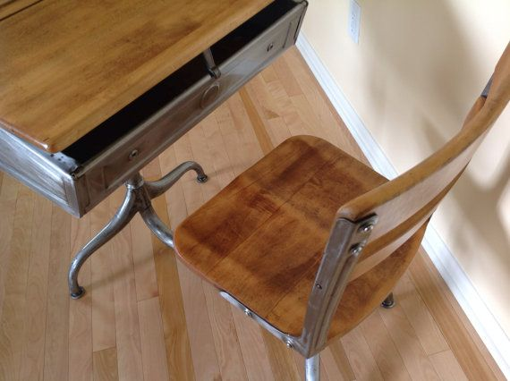 School Desk. Industrial Steel And Wood. Desk/chair Combo With Adjustable  Height And