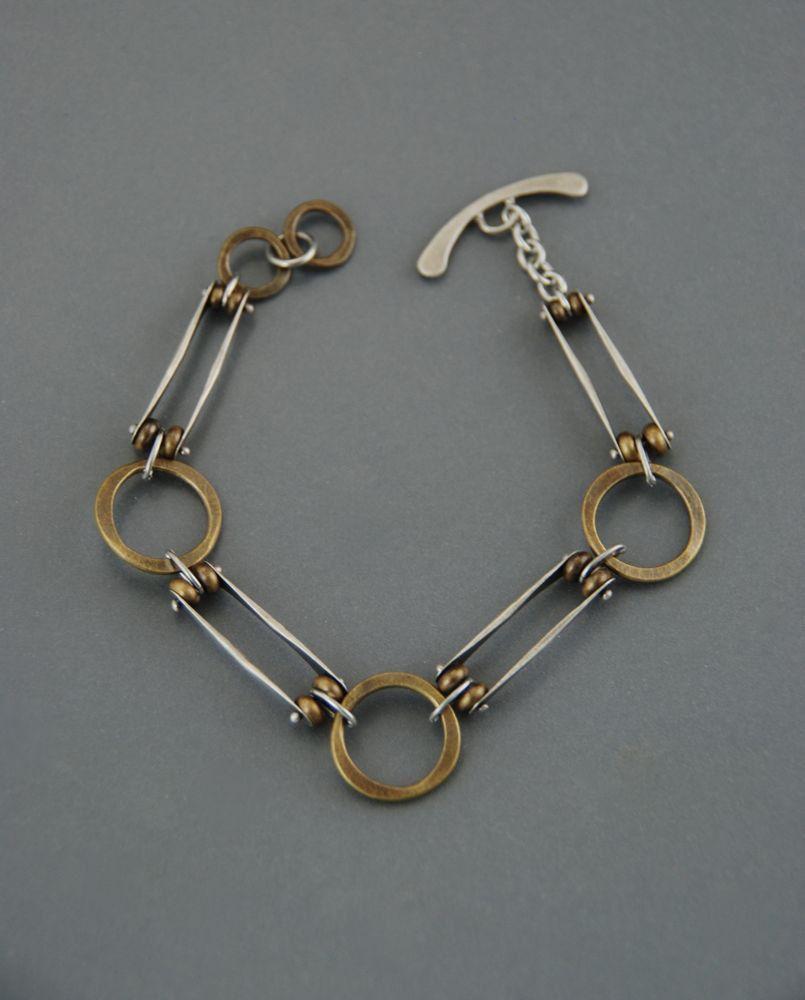 Mixed metal bracelet, sterling silver bracelet, brass bracelet ...