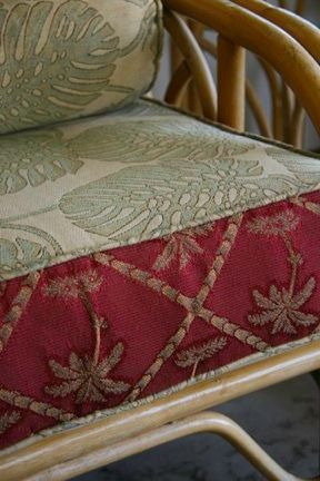 Great Idea    Contrasting Hawaii Upholstery Cushion Fabric On Rattan Chair