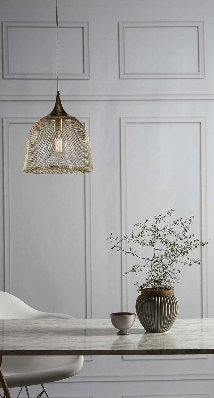 Wire grid light pendant in brass, black or white | Lighting ...