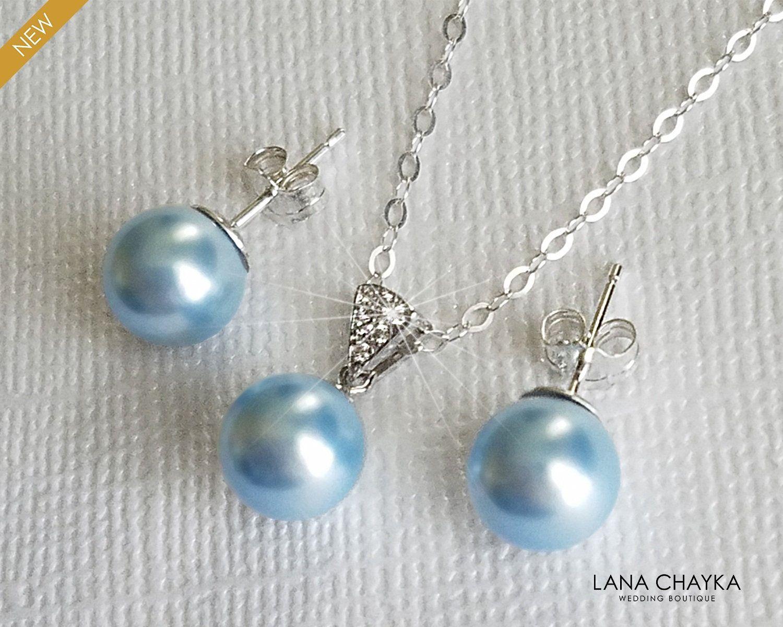 Light Blue Pearl Sterling Silver Jewelry Set, Swar