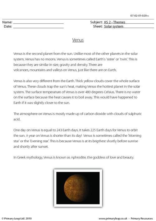 PrimaryLeap.co.uk - Venus comprehension Worksheet   Solar System ...