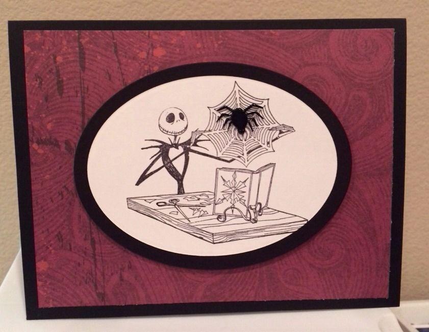 Nightmare Before Christmas Jack Skellington Spider Handmade Halloween Card Wine