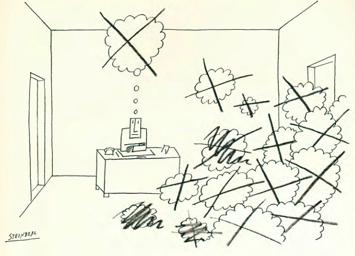 The latter part of a wise man's life is taken up in curing the follies, prejudices, and false opinions he had constructed in the former. - Jonathan Swift, Miscellanies (1711) / Illustration by Saul Steinberg(1969)