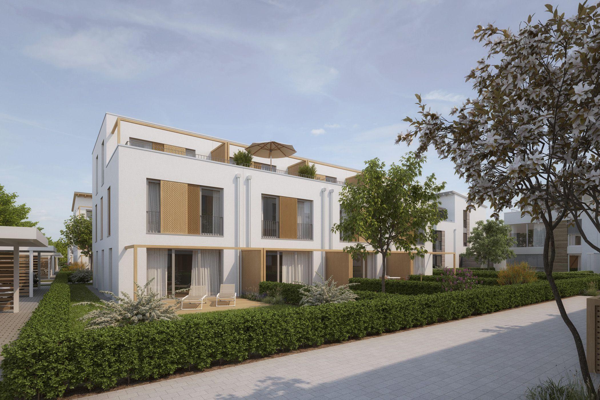 Visualisierung 3d beispielbebauung bebauungsplan birkenstraße typ reihenhaus