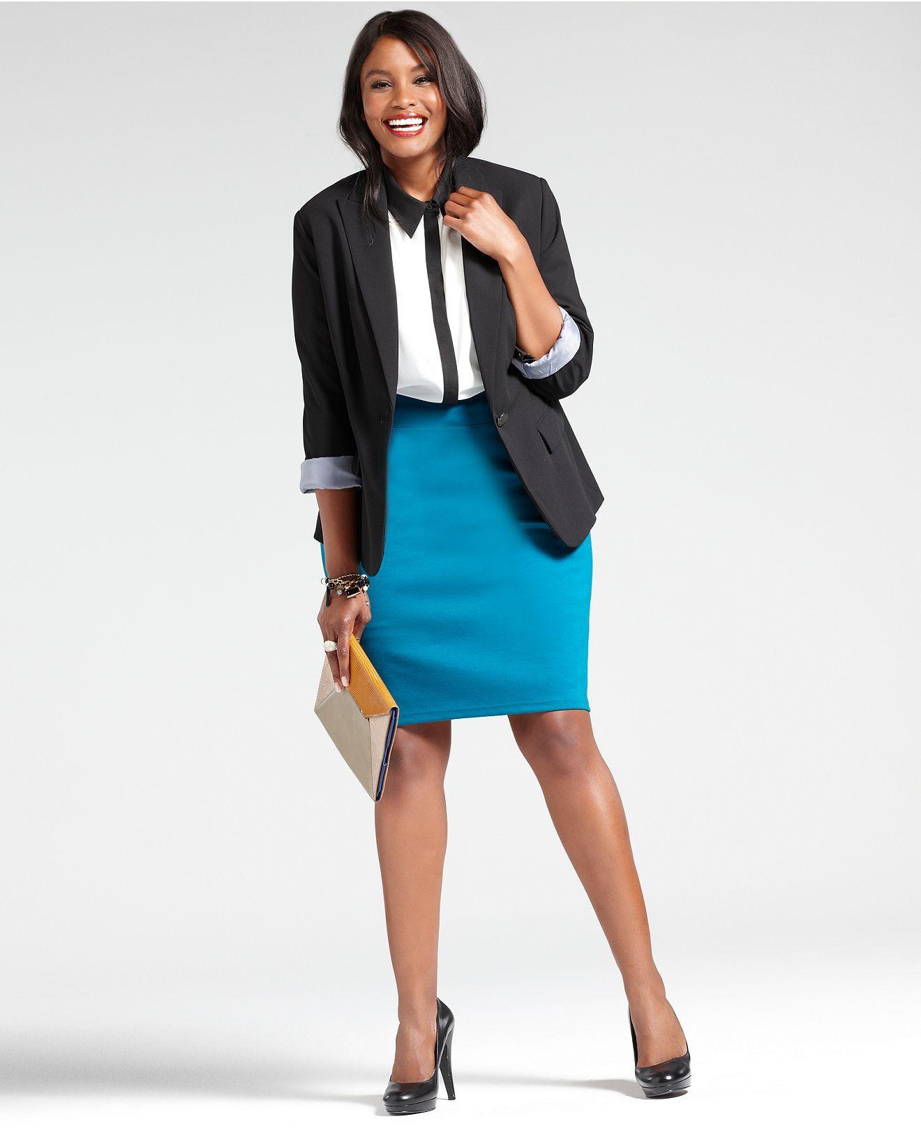 wear what works plus size blazer pencil skirt look