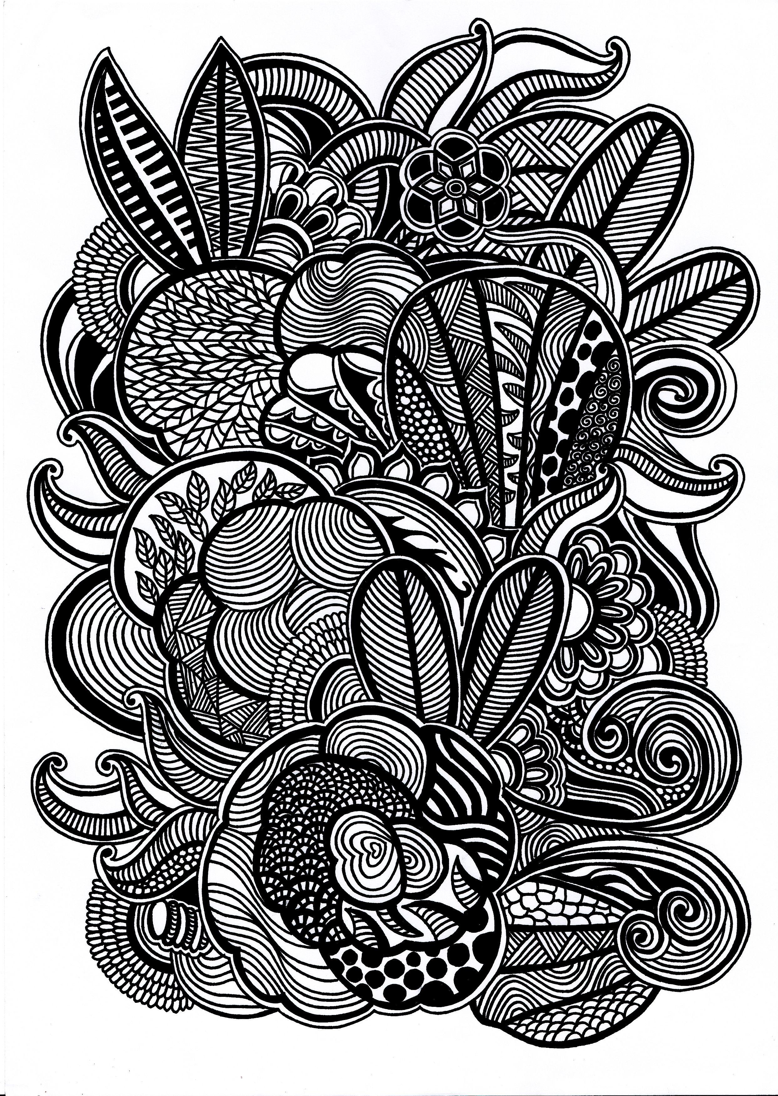Foliage forest doodles doodling drawing black white doodle