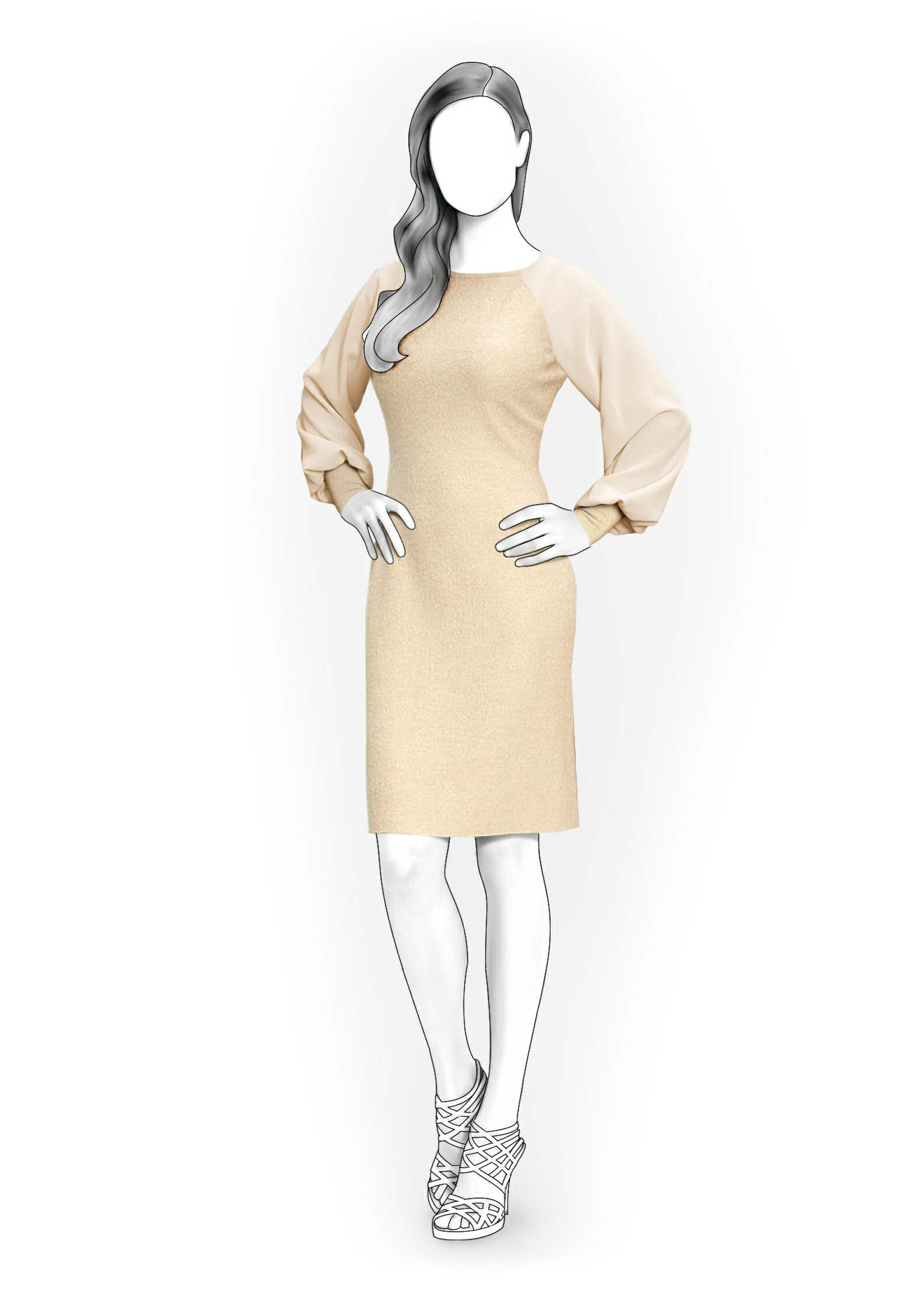 Dress With Chiffon Sleeves - Sewing Pattern #4085. Made-to-measure ...