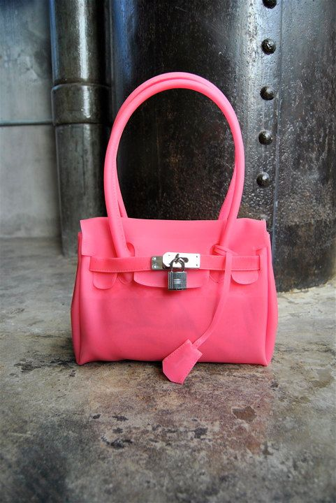 vintage purse, 1990's transparent hot pink jelly Birkin bag, WOW