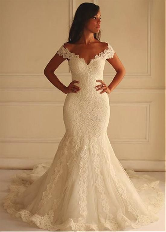 Stunning Tulle Off-the-shoulder Neckline Mermaid Wedding Dress With Lace Appliques, aLace Wedding Dress, Wedding Dress, Wedding Dresses