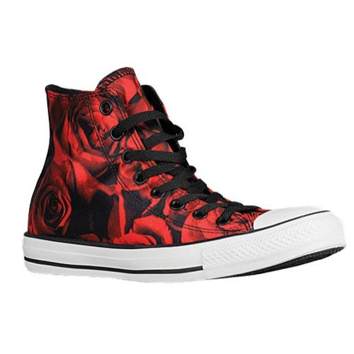 c7e96fceac0 Black converse with red roses