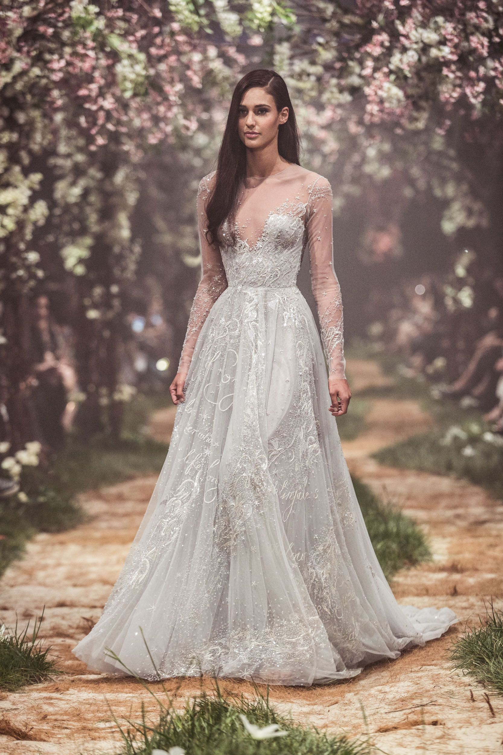Psss u tulle sleeved gown with nightingale embroidery and the