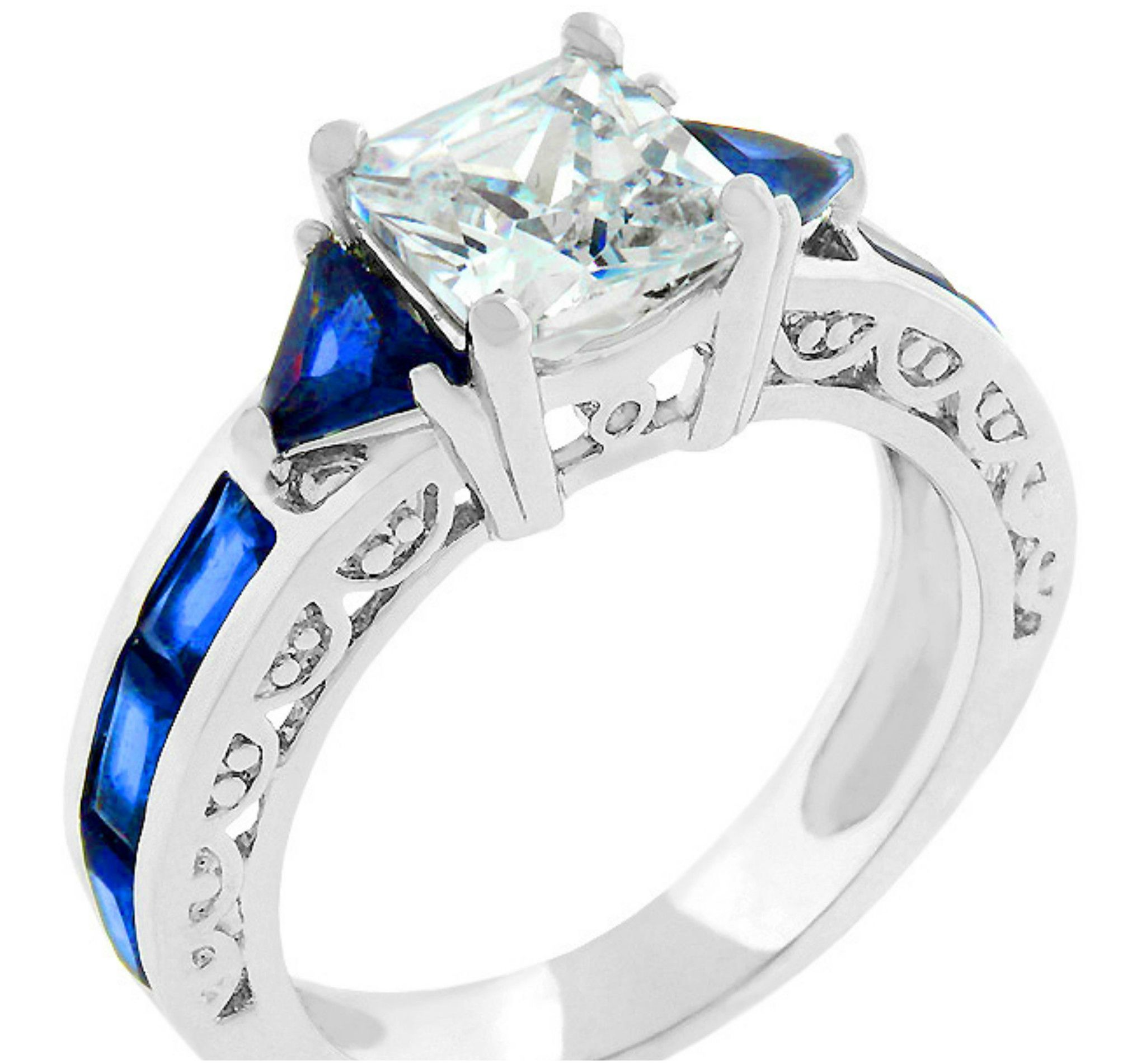 cross ring engagement silvertone criss elegant sapphire products blue cz xl
